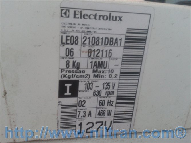 Etiqueta de identificação lavadora Electrolux LE08