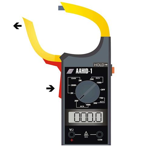 Leitura de corrente com alicate amperímetro
