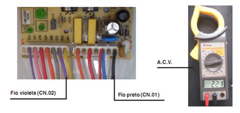 Teste de saída de tensão para o atuador de acoplamento