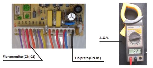 Teste de saída de tensão para a chave seletora motorizada