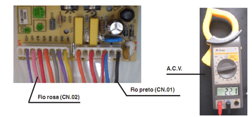Teste de saída de tensão para a válvula de auto limpeza