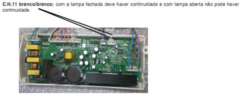 Teste do interruptor da tampa pela placa de potência