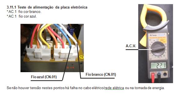 teste de alimentação da placa eletrônica lavadora electrolux lt 50 e 60