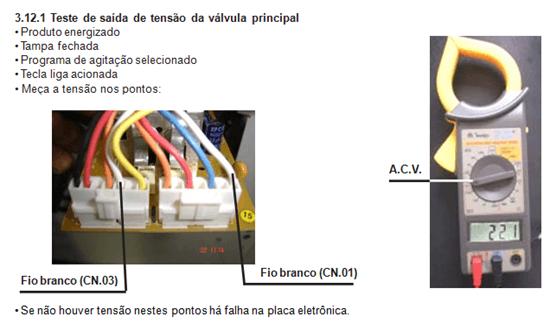 teste de saída de tensão válvula principal lavadora electrolux lt 50 e 60