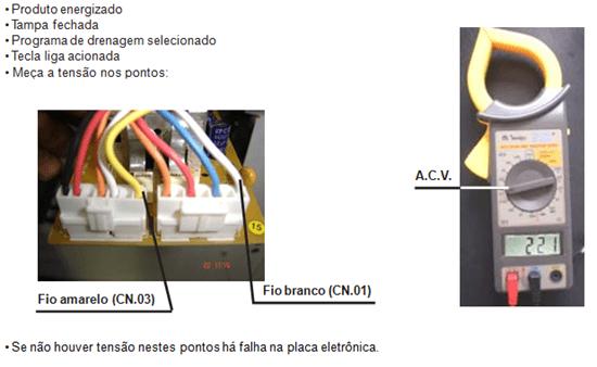 teste de saída de tensão eletrobombe de drenagem e atuador de freio lavadora electrolux lt 50 e 60