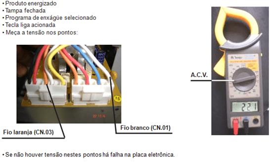 teste de saída de tensão da válvula e amaciante lavadora electrolux lt 50 e 60