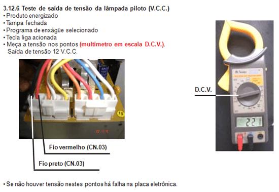 teste de saída de tensão lâmpada piloto lavadora electrolux lt 50 e 60