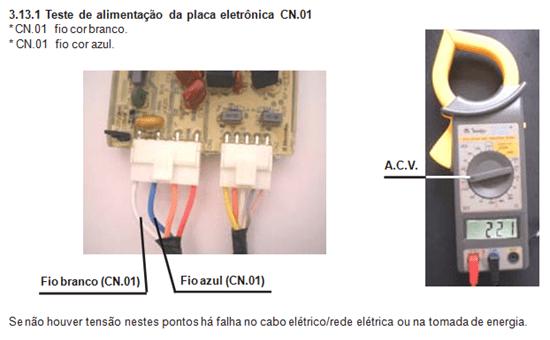 Teste de alimentação da placa eletrônica CN01 lavadora electrolux lt  60
