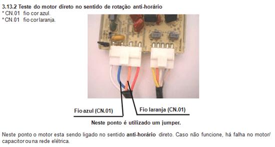 teste do motor direto no sentido ant horário lavadora electrolux lt 60