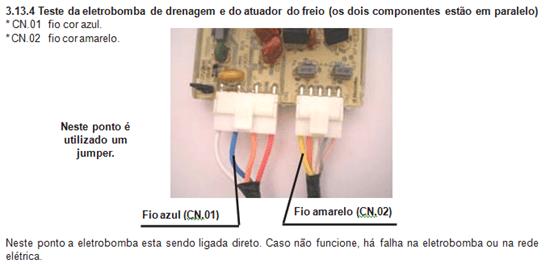 teste eletrobomba de drenagem e atuador de freio em paralelo lavadora electrolux lt 60
