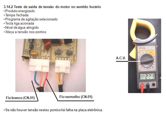 teste de saída de tensão do motor sentido horário lavadora electroluc lt 60