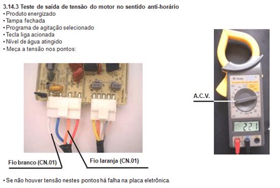 teste de saída de tensão do motor sentido ant horário lavadora electroluc lt 60