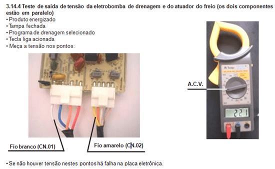 Teste de saída de tensão eletrobomba de drenagem lavadora electrolux lt 60