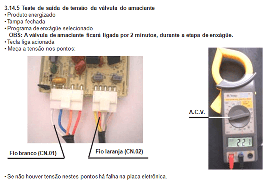teste de saída de tensão da válvula do amaciante lavadora electrolux lt 60